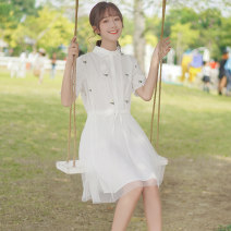 Dress Summer 2020 white S M L Middle-skirt singleton  Short sleeve commute Polo collar middle-waisted Solid color Socket A-line skirt routine 18-24 years old Type A Pachachi Korean version Pleated embroidery stitching asymmetric button mesh lace More than 95% other Other 100%
