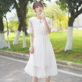 Dress Summer 2020 white S M L Middle-skirt singleton  Short sleeve commute V-neck Elastic waist Solid color Socket Ruffle Skirt routine 18-24 years old Type A Pachachi Korean version More than 95% polyester fiber Polyester 100% Exclusive payment of tmall