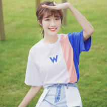 T-shirt white S M L Summer of 2019 elbow sleeve Crew neck easy Regular routine commute cotton 86% (inclusive) -95% (inclusive) 18-24 years old Korean version classic Color matching of letters Pachachi Print stitching Cotton 95% polyurethane elastic fiber (spandex) 5% Pure e-commerce (online only)