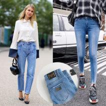 Jeans Winter 2020 wathet Ninth pants Natural waist Pencil pants Cotton elastic denim light colour