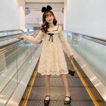 Dress Please don't make a big collection in pink and off white female Merelcast 120cm 130cm 140cm 150cm 160cm 170cm Other 100% spring and autumn Korean version Long sleeves Solid color other A-line skirt A7553 Class B Spring 2021 Chinese Mainland Zhejiang Province Huzhou City