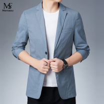 Suit Youth fashion Others Light blue, dark blue 165/80A,170/84A,175/88A,180/92A,190/100A Flat lapel No slits summer standard A double breasted button Other leisure youth 2021 Solid color Button decoration