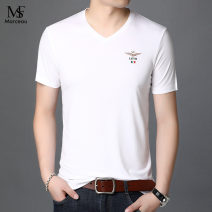 T-shirt Youth fashion White, black, blue, wood green, lotus root powder thin 48/105/165,50/110/170,52/115/175,54/120/180,56/125/185,58/190 Others Short sleeve V-neck Self cultivation daily summer youth routine Business Casual 2021 printing mulberry silk other No iron treatment