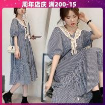Dress Terry Kennedy M,L,XL,XXL Japanese  Short sleeve Medium length summer V-neck lattice Cotton and hemp