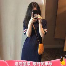 Dress Terry Kennedy Main graph color M. L, XL, XXL, XXXL, oversize, XXXL, other sizes leisure time Short sleeve Medium length summer Lapel Solid color nylon