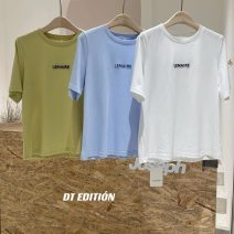 T-shirt White, blue, green S, M Spring 2021 Short sleeve Crew neck easy Regular routine street cotton 51% (inclusive) - 70% (inclusive) 25-29 years old youth Dream trend 3524-B3 Sports & Leisure