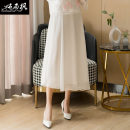 skirt Autumn 2020 One size fits all (elastic waist) White light blue Mid length dress commute Natural waist A-line skirt Solid color Type A CSF20QT00919 More than 95% Chiffon Chunshang maple other Retro Other 100% Pure e-commerce (online only)