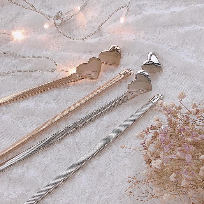 Belt / belt / chain Metal Gold double love silver double love female