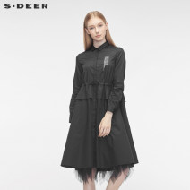 Dress Autumn of 2019 Black / 91 S/160 M/165 L/170 XL/175 longuette singleton  Long sleeves other middle-waisted other A-line skirt routine 25-29 years old Type A s.deer S19361203 More than 95% other cotton Cotton 100% Same model in shopping mall (sold online and offline)