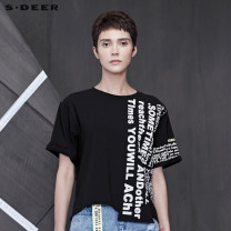 T-shirt Black / 91 S/160 M/165 L/170 XL/175 Summer of 2019 Short sleeve Crew neck Straight cylinder Regular routine cotton 86% (inclusive) -95% (inclusive) 25-29 years old other s.deer Cotton 95% polyurethane elastic fiber (spandex) 5% Same model in shopping mall (sold online and offline)