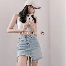 skirt Summer 2021 S,M,L wathet Short skirt sexy High waist Irregular Solid color Type A 18-24 years old 71% (inclusive) - 80% (inclusive) Denim