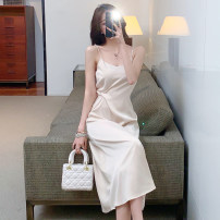 Dress Summer 2021 Black, apricot pink S,M,L longuette singleton  Sleeveless commute V-neck High waist Solid color Socket other other camisole 18-24 years old Type A 81% (inclusive) - 90% (inclusive) Silk and satin Cellulose acetate