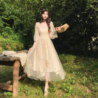 Dress Summer 2021 Dress + cardigan S. M, l, average size Miniskirt Two piece set Long sleeves V-neck High waist Decor Socket Princess Dress bishop sleeve Others 18-24 years old Type A Other / other 81% (inclusive) - 90% (inclusive) Chiffon