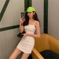 Dress Summer of 2019 White, black Average size Short skirt singleton  Sleeveless One word collar High waist Solid color Socket A-line skirt routine camisole 18-24 years old Type A