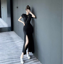 Dress Summer 2020 Grey, black, pink Average size Mid length dress singleton  Short sleeve Crew neck High waist Solid color A-line skirt routine Others 18-24 years old Type A cotton