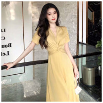 Dress Summer 2020 Yellow, red S,M,L,XL longuette singleton  Short sleeve commute V-neck High waist Solid color Socket A-line skirt routine Others 25-29 years old Type A Korean version Fold, splice WN002299 More than 95% Chiffon