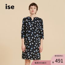 Dress Autumn of 2019 Blue black / 79 S M L Mid length dress singleton  three quarter sleeve commute V-neck middle-waisted other Socket other routine Others 30-34 years old Type H ISE Retro printing P1930722 More than 95% cotton Cotton 100% Same model in shopping mall (sold online and offline)