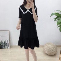 Dress Summer 2021 black S,M,L,XL,2XL,3XL Mid length dress singleton  Short sleeve commute V-neck Loose waist Solid color Socket A-line skirt routine 25-29 years old Type A Simplicity 81% (inclusive) - 90% (inclusive) Chiffon polyester fiber