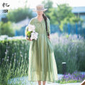 Dress Summer 2020 Light bud green S M L longuette singleton  Short sleeve commute Loose waist Solid color Socket Big swing routine 30-34 years old Type A Reminiscence More than 95% other hemp Ramie 100% Exclusive payment of tmall