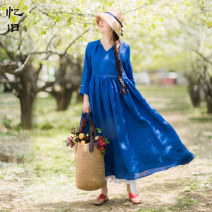 Dress Summer of 2018 Cobalt blue M L longuette singleton  Long sleeves commute stand collar Loose waist Solid color Socket Big swing routine Others 30-34 years old Type X Reminiscence literature Pleated pocket stitching AQL973 More than 95% other hemp Ramie 100% Pure e-commerce (online only)