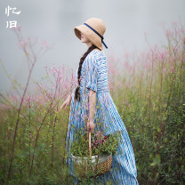 Dress Summer of 2018 Fresh blue M L longuette singleton  Short sleeve commute Crew neck High waist stripe Socket Big swing routine Others 30-34 years old Type H Reminiscence literature Pleated pocket stitching print AQL1068 More than 95% other hemp Ramie 100% Pure e-commerce (online only)