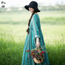 Dress Fall 2017 turquoise  M L longuette singleton  Long sleeves commute Crew neck Loose waist stripe Socket Big swing routine Others 30-34 years old Type A Reminiscence literature Pleated pocket button print BQL230 More than 95% hemp Ramie 100% Pure e-commerce (online only)