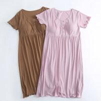 Nightdress M L XL XXL pajamas youth 81% (inclusive) - 95% (inclusive) Regenerated fiber Spring of 2019 Regenerated cellulose fiber 92% polyurethane elastic fiber (spandex) 8% Pure e-commerce (online only) Cotton 100%