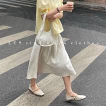 skirt Summer 2021 S,M,L White, apricot, black Mid length dress commute High waist A-line skirt Solid color Type A 18-24 years old 31% (inclusive) - 50% (inclusive) Chiffon Other / other other zipper Korean version