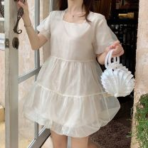 Dress Summer 2020 Bubble sleeve - black, bubble sleeve - cream, bubble sleeve - Cherry powder, suspender skirt - black, suspender skirt - cream, suspender skirt - Cherry powder S. M, l, collection plus purchase priority Middle-skirt singleton  Short sleeve Sweet One word collar High waist Solid color