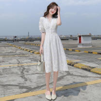 Dress Summer 2021 white S,M,L,XL Mid length dress singleton  Short sleeve commute V-neck Socket Type A Other / other Korean version 30% and below other