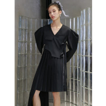 Dress Autumn 2020 White, black S,M,L Mid length dress Two piece set Long sleeves street V-neck middle-waisted Single breasted Pleated skirt puff sleeve Others 18-24 years old Type H JNYLONSTUDIOS Bowknot, chain, pocket, lace up, stitching, asymmetry L903 More than 95% polyester fiber