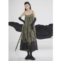Dress Summer 2020 Army green S,M,L longuette singleton  Sleeveless street One word collar Loose waist lattice Socket Big swing camisole 18-24 years old Type A JNYLONSTUDIOS Pleating, pleating, stitching, printing Q290 31% (inclusive) - 50% (inclusive) cotton Europe and America