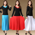 Square dance skirt M,L,XL,2XL,3XL,4XL,5XL,6XL longuette middle-waisted practice female easy Shredded milk Solid color Jin Ziyang yes