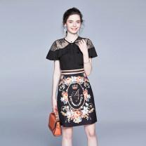 skirt Summer 2020 M,L,XL,XXL black 91% (inclusive) - 95% (inclusive) polyester fiber Splicing