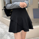 skirt Spring 2021 M L XL black Short skirt commute High waist Ruffle Skirt Solid color Type A 25-29 years old MSMD91602 More than 95% Wool Mownssimey / dreamtime polyester fiber Ruffle zipper stitching Korean version Polyester 100% Pure e-commerce (online only)