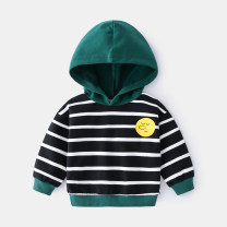 Sweater / sweater wellkids Black and white bar male 90cm,100cm,110cm,120cm,130cm spring and autumn No detachable cap leisure time Socket routine No model cotton stripe Other 100% wt1701