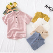 shirt White stand collar short sleeve shirt, purple stand collar short sleeve shirt, blue stand collar short sleeve shirt, yellow stand collar short sleeve shirt, beige stand collar short sleeve shirt Other / other male 100cm, 110cm, 120cm, 130cm, Size 90 is suitable for 95cm height summer cotton