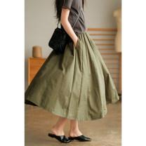 skirt Summer 2021 Average size Black, green, khaki Mid length dress grace Natural waist A-line skirt Solid color Type A 71% (inclusive) - 80% (inclusive) cotton fold