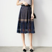 skirt Spring 2021 Average size Navy, off white, black, apricot, blue Mid length dress Versatile High waist other Type A 25-29 years old Lace other Cut out, zipper, lace
