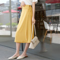 skirt Summer 2020 S,M,L Mid length dress low-waisted High waist skirt Solid color Type A