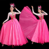 National costume / stage costume Spring 2021 Pink Double Dragon yarn skirt swing skirt 180 degree Pink Double Dragon yarn skirt swing skirt 360 degree Pink Double Dragon yarn skirt swing skirt 540 degree Pink Double Dragon yarn skirt swing skirt 720 degree S M L XL XXL XXL custom size Imperial dancer