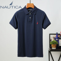 T-shirt Fashion City thin M,L,XL,2XL,3XL,4XL Nautica / nodica Short sleeve Lapel standard go to work summer Large size routine Simplicity in Europe and America 2021 Solid color Embroidered logo cotton More than 95%