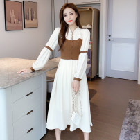 Dress Autumn 2020 Picture color S,M,L,XL Mid length dress singleton  Long sleeves commute V-neck High waist Solid color Socket Big swing bishop sleeve Others Type A Splicing 71% (inclusive) - 80% (inclusive)
