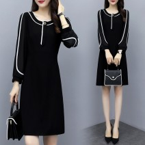 Dress Autumn 2020 Black picture color M,L,XL,2XL,3XL,4XL longuette singleton  Long sleeves commute Crew neck High waist Solid color zipper A-line skirt routine Others Type A Splicing 71% (inclusive) - 80% (inclusive) other other