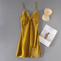 Nightdress Tihuang 3XL 4XL M L XL XXL sexy camisole pajamas Middle-skirt spring Solid color youth V-neck Polyester (polyester) lace More than 95% polyester fiber th902 200g and below Spring of 2018 Polyester 95% polyurethane elastic fiber (spandex) 5% Pure e-commerce (online only)