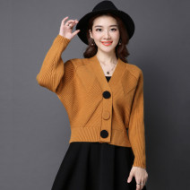 sweater Autumn of 2019 Average size Gray, red, blue, black, pink purple, yellow (lighter), 73 # purple Long sleeves Cardigan singleton  cotton 31% (inclusive) - 50% (inclusive) V-neck thickening commute routine shape Shawl type Fine wool Keep warm and warm Other / other cotton Single breasted