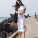Dress Summer of 2019 Gray, white, black Average size Mid length dress singleton  Short sleeve commute Crew neck High waist Solid color Socket One pace skirt routine Others Type X Korean version Pleating 91% (inclusive) - 95% (inclusive) other cotton