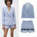 short coat Spring 2021 XS,S,M,L Plaid jacket, Plaid Shorts Long sleeves routine singleton  street Polo collar lattice TRAF