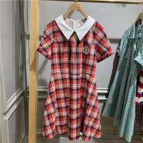 Dress Summer 2020 gules 155/80A,160/84A,165/88A,170/92A Mid length dress singleton  Short sleeve commute V-neck Solid color Others 25-29 years old 81% (inclusive) - 90% (inclusive)