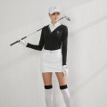 Golf apparel Black, lake blue, black top + white skirt, lake blue top + white skirt, black top + white pants S,M,L,XL,XXL female BG